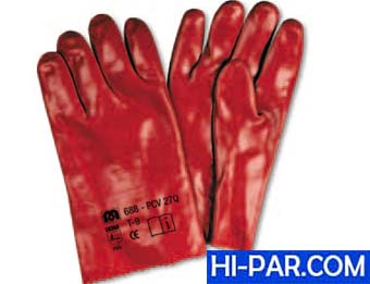 Guantes PVC estanco de 27 cm. en color rojo 688-PVC 27Q